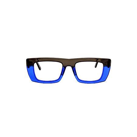 Armação para óculos de Grau Gustavo Eyewear G80 1000. Cor: Fumê e azul translúcido. Haste fumê.