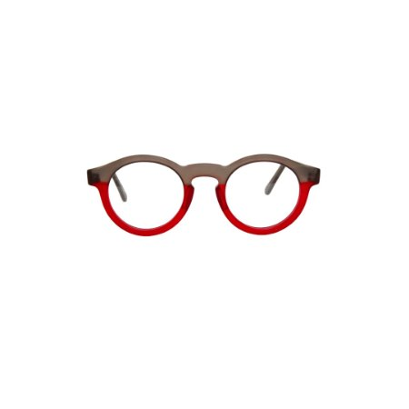 Armação para óculos de Grau Gustavo Eyewear G29 8. Modelo masculino. Cor: Fumê e vermelho translúcido. Haste fumê.