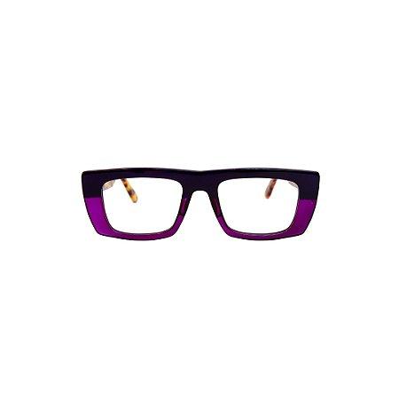 Armação para óculos de Grau Gustavo Eyewear G80 2. Cor: Roxo e lilás translúcido. Haste animal print.