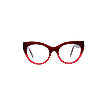 Armação para óculos de Grau Gustavo Eyewear G65 500. Cor: Marrom e vermelho translúcidos. Haste marrom translúcido.