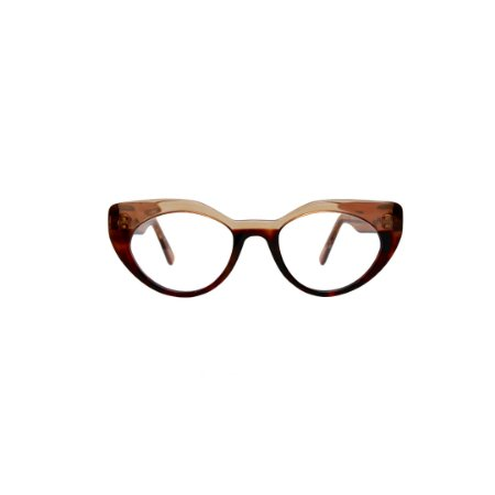Armação para óculos de Grau Gustavo Eyewear G93 15. Cor: Âmbar com animal print. Haste âmbar