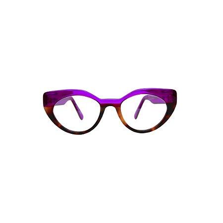 Armação para óculos de Grau Gustavo Eyewear G93 17. Cor: Violeta translúcido com animal print. Haste violeta trasnlúcido.