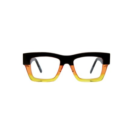 Armação para óculos de Grau Gustavo Eyewear G64 10. Modelo unisex. Cor: Preto, laranja e amarelo translúcido. Haste preta.