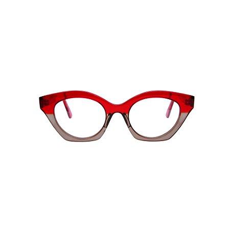 Armação para óculos de Grau Gustavo Eyewear G71 7. Cor: Vermelho e fumê translúcido. Haste vermelho translúcido.