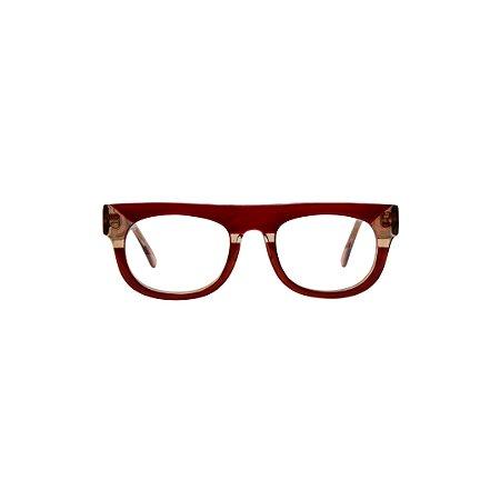 Armação para óculos de Grau Gustavo Eyewear G14 1. Cor: Vermelho translúcido e âmbar. Haste âmbar.