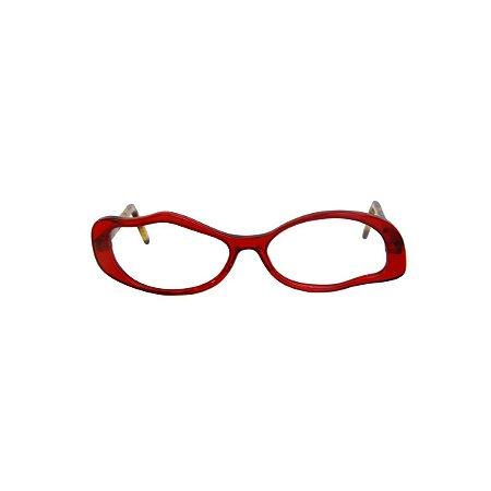 Armação para óculos de Grau Gustavo Eyewear G15 7. Cor: Vermelho translúcido. Haste animal print.