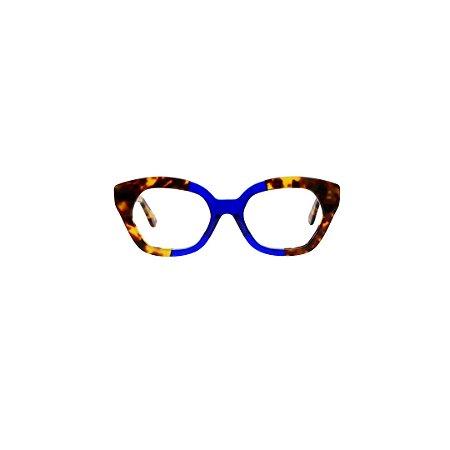 Armação para óculos de Grau Gustavo Eyewear G70 11. Cor: Animal Print com azul. Haste animal print.