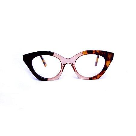Armação para óculos de Grau Gustavo Eyewear G71 12. Cor: Preto, âmbar e animal print. Haste animal print.