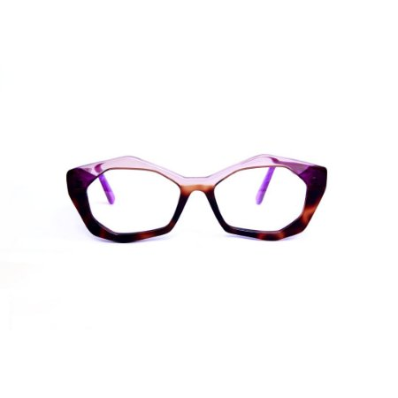 Armação para óculos de Grau Gustavo Eyewear G53 29. Cor: Âmbar, violeta e animal print. Haste violeta.