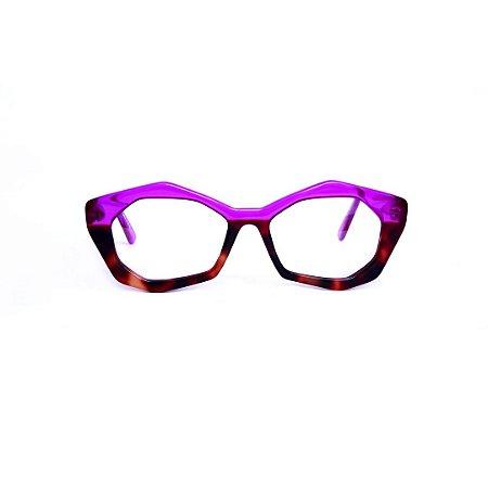 Armação para óculos de Grau Gustavo Eyewear G53 32. Cor: Violeta translúcido e animal print. Haste violeta.