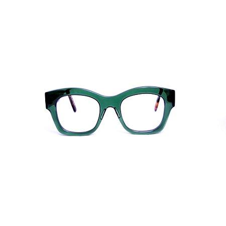 Armação para óculos de Grau Gustavo Eyewear G58 1. Cor: Verde translúcido. Haste animal print.