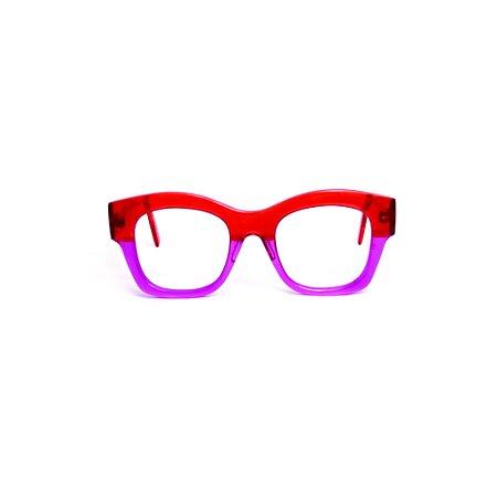 Armação para óculos de Grau Gustavo Eyewear G58 5. Cor: Vermelho e violeta translúcido. Haste vermelho translúcido.