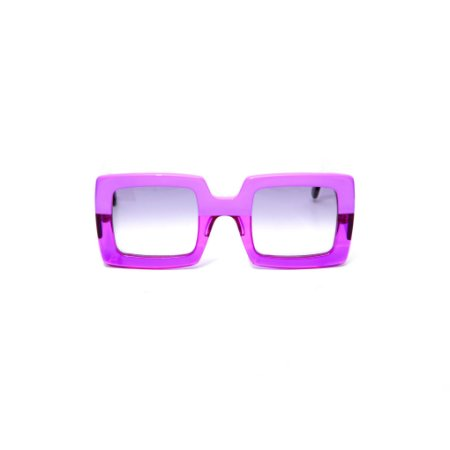 Óculos de sol Gustavo Eyewear G1 1. Cor: Roxo opaco com roxo translúcido. Haste preta.