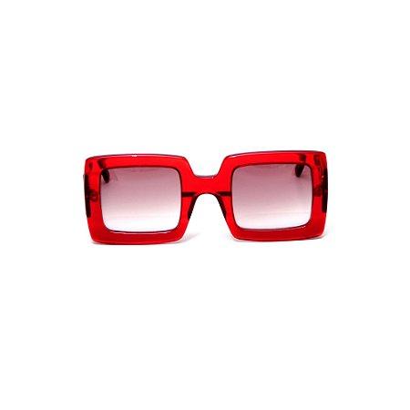 Óculos de sol Gustavo Eyewear G1 2. Cor: Vermelho translúcido. Haste preta.