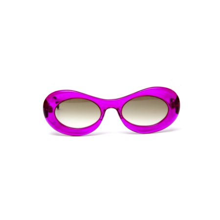 Óculos de sol Gustavo Eyewear G89 12. Cor: Violeta translúcido. Haste animal print. Lentez marrom.