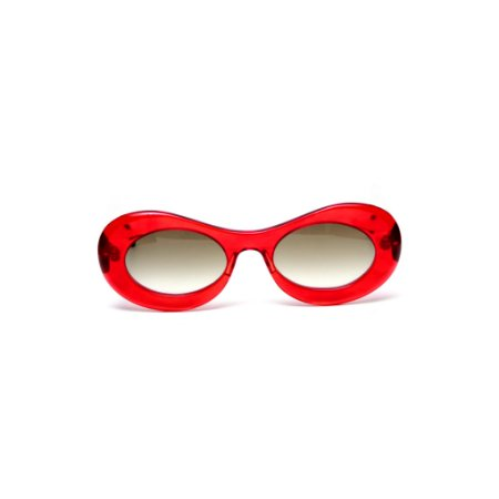 Óculos de sol Gustavo Eyewear G89 13. Cor: Vermelho translúcido. Haste animal print. Lentes cinza.