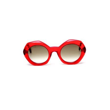 Óculos de sol Gustavo Eyewear G90 1. Cor: Vermelho translúcido. Haste animal print.