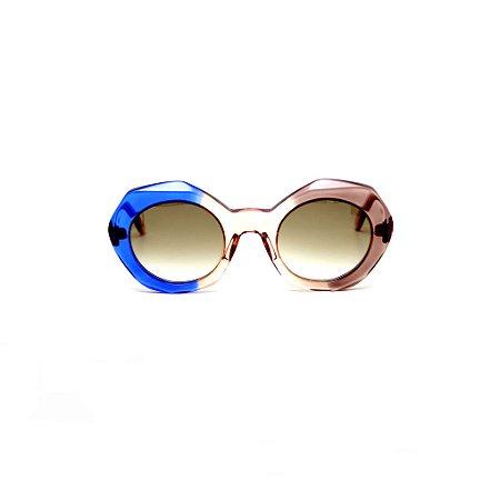 Óculos de sol Gustavo Eyewear G90 2. Cor: Azul, âmbar e fumê translúcidos. Haste âmbar.