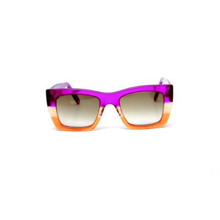 Óculos de sol Gustavo Eyewear G79 5. Cor: Roxo, âmbar e laranja translúcido. Haste roxa.