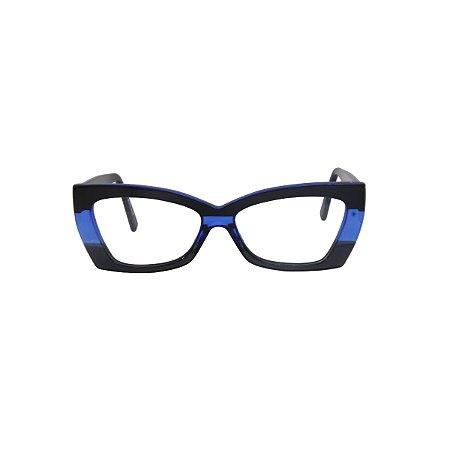 Armação para óculos de Grau Gustavo Eyewear G81 200. Cor: Preto com azul translúcido. Haste preta.