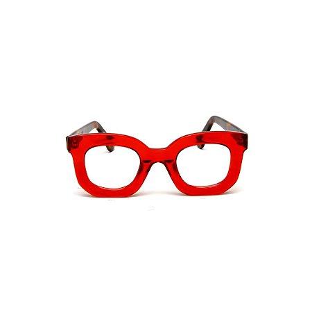 Armação para óculos de Grau Gustavo Eyewear G31 2. Cor: Vermelho translúcido. Haste animal print.