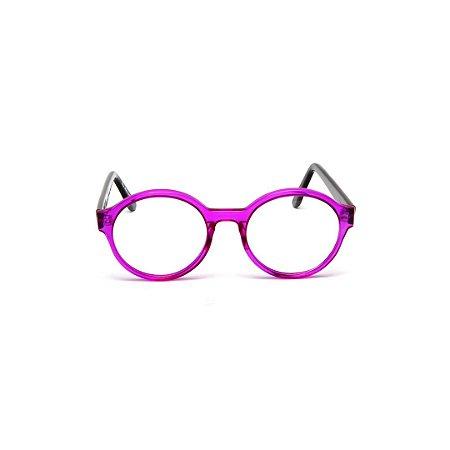 Armação para óculos de Grau Gustavo Eyewear G67 4. Cor: Violeta translúcido. Haste preta.