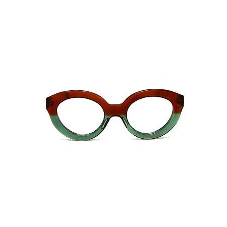 Armação para óculos de Grau Gustavo Eyewear G25 3. Cor: Marrom e verde translúcido. Haste marrom translúcido.