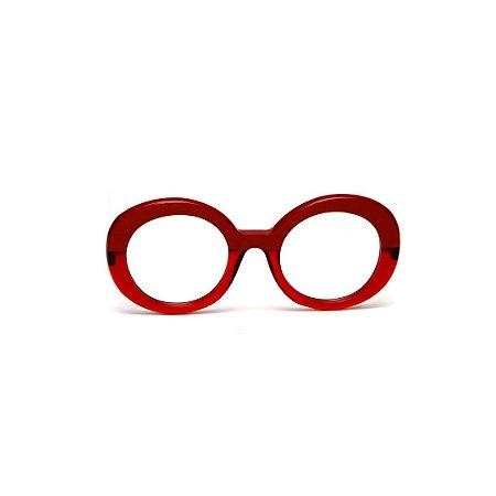 Armação para óculos de Grau Gustavo Eyewear G61 26. Cor: Vermelho opaco com vermelho translúcido. Haste animal print.