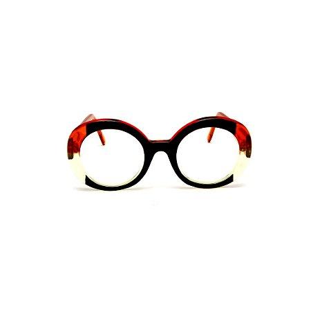 Armação para óculos de Grau Gustavo Eyewear G61 27. Cor: Preto com laranja e amarelo translúcido. Haste laranja.