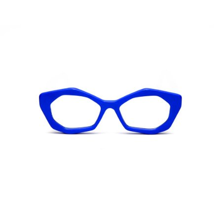 Armação para óculos de Grau Gustavo Eyewear G53 1. Cor: Azul opaco. Haste preta.