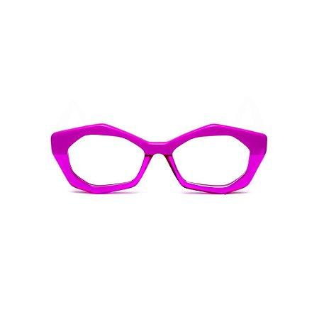 Armação para óculos de Grau Gustavo Eyewear G53 4. Cor: Lilás opaco com translúcido. Haste preta.