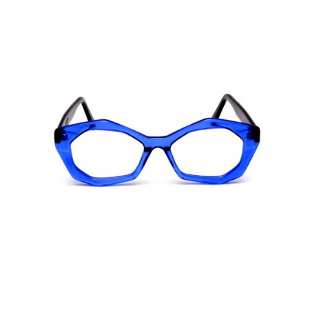Armação para óculos de Grau Gustavo Eyewear G53 7. Cor: Azul translúcido. Haste preta.