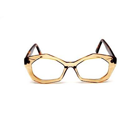 Armação para óculos de Grau Gustavo Eyewear G53 8. Cor: Âmbar. Haste animal print.