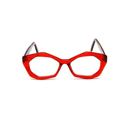 Armação para óculos de Grau Gustavo Eyewear G53 10. Cor: Vermelho translúcido. Haste animal print.