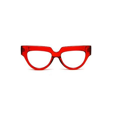 Armação para óculos de Grau Gustavo Eyewear G40 6. Cor: Vermelho translúcido. Haste animal print.