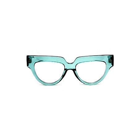 Armação para óculos de Grau Gustavo Eyewear G40 8. Cor: Acqua. Haste animal print.