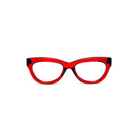 Armação para óculos de Grau Gustavo Eyewear G73 5. Cor: Vermelho translúcido. Haste fumê.