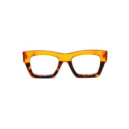 Armação para óculos de Grau Gustavo Eyewear G64 14. Cor: Amarelo translúcido com animal print. Haste amarela.