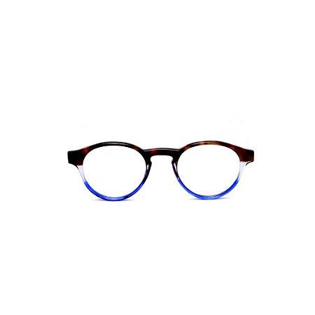 Armação para óculos de Grau Gustavo Eyewear G85 3. Cor: Animal print, azul claro e azul translúcido. Haste animal print.
