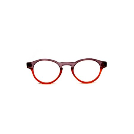 Armação para óculos de Grau Gustavo Eyewear G85 5. Cor: Fumê e vermelho translúcido. Haste fumê