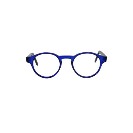 Armação para óculos de Grau Gustavo Eyewear G85 200. Cor: Azul translúcido. Haste preta.