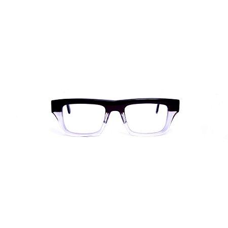 Armação para óculos de Grau Gustavo Eyewear G74 4. Cor: Preto e cristal. Haste preta.
