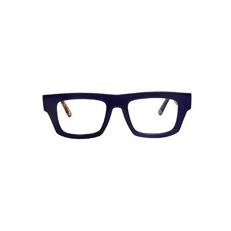 Armação para óculos de Grau Gustavo Eyewear G74 100. Cor: Azul opaco. Haste animal print.