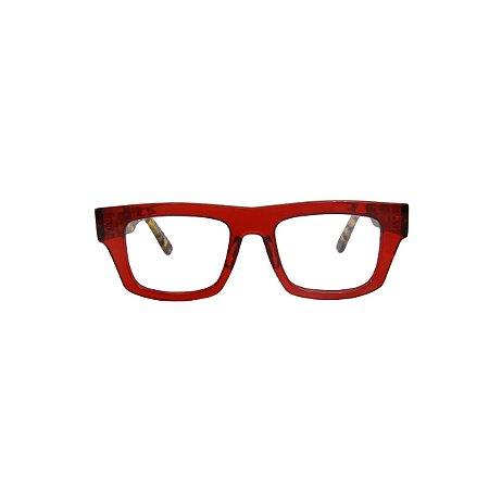 Armação para óculos de Grau Gustavo Eyewear G74 200. Cor: Vermelho translúcido. Haste animal print.