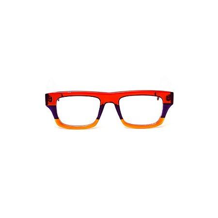 Armação para óculos de Grau Gustavo Eyewear G74 500. Cor: Vermelho, violeta e laranja translúcido. Haste animal print.