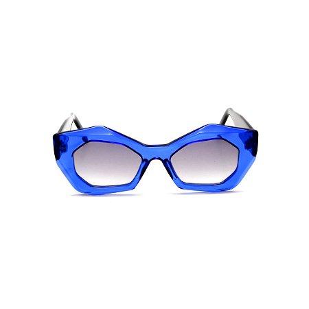 Óculos de sol Gustavo Eyewear G92 1. Cor: Azul translúcido. Haste preta. Lentes cinza.