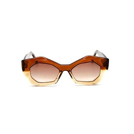 Óculos de sol Gustavo Eyewear G92 9. Cor: Marrom translúcido e âmbar. Haste marrom. Lentes marrom.