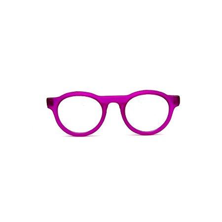 Armação para óculos de Grau Gustavo Eyewear G77 2. Cor: Violeta translúcido. Haste marrom.