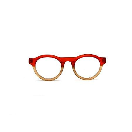 Armação para óculos de Grau Gustavo Eyewear G77 5. Cor: Vermelho translúcido e âmbar. Haste vermelha.