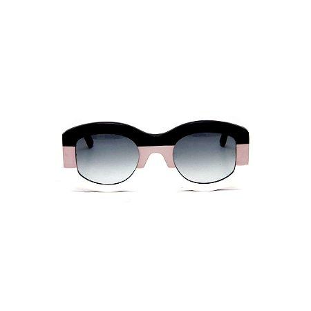 Óculos de sol Gustavo Eyewear G60 2. Cor: Preto, nude e branco. Haste preta. Lentes cinza.